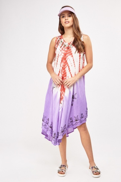 Dip-Dye Embroidered Tent Dress