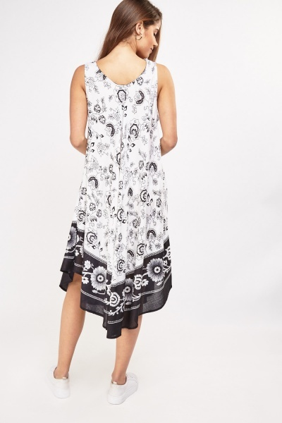 Flower Scarf Printed Tent Dress