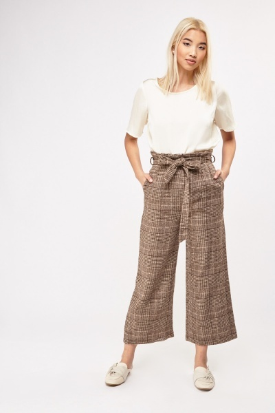 Houndstooth High Waisted Fleeced Trousers