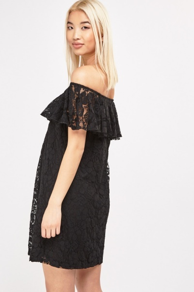 Lace Off Shoulder Bardot Dress