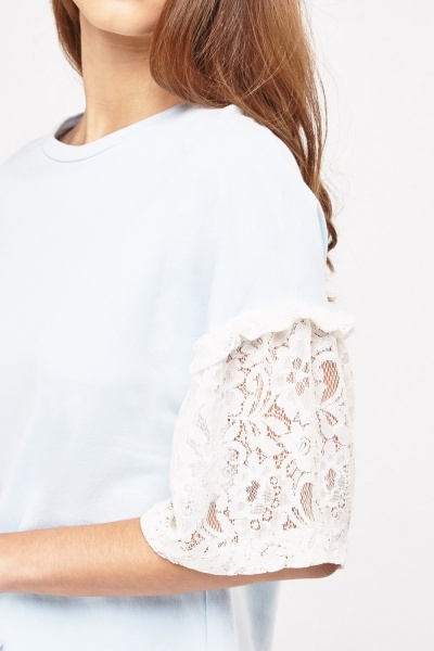 Lace Sleeve Contrast Top