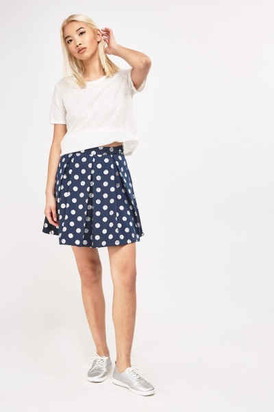 Metallic Polka Dot Mini Skirt