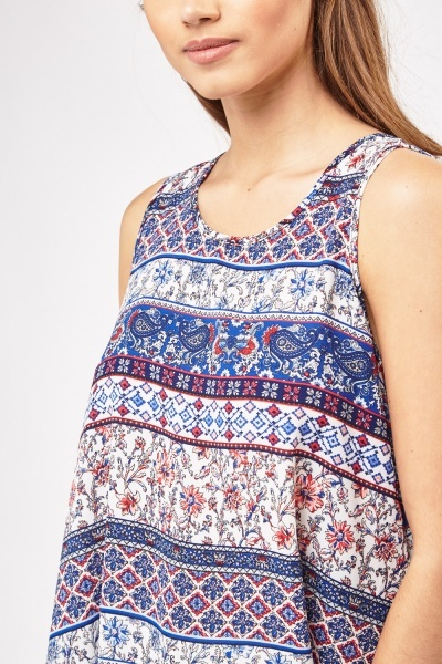 Mix Ethnic Tile Print Top