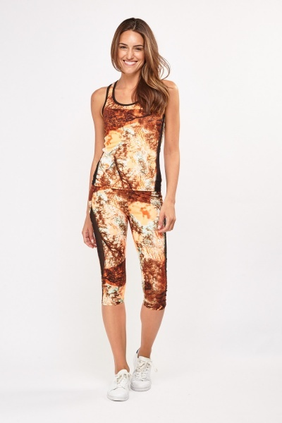 Mono Print Sports Tank Top And Capri Leggings Set