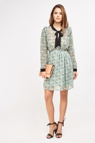 Printed Frilly Sheer Swing Dress