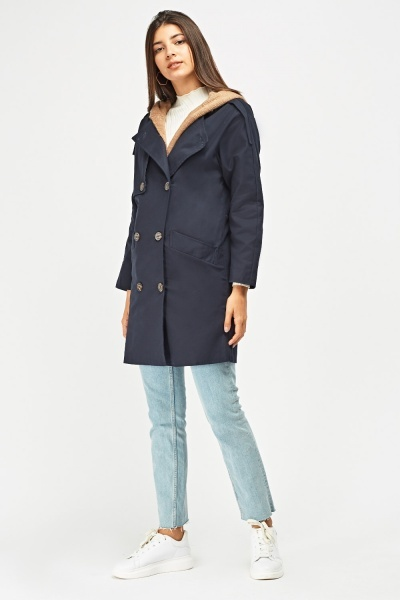 Contrast Hooded Trench Coat