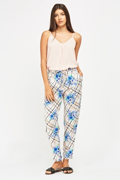 Mixed Print Thin Trousers