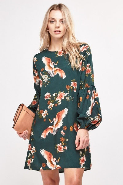 Printed Bishop Sleeve Shift Dress