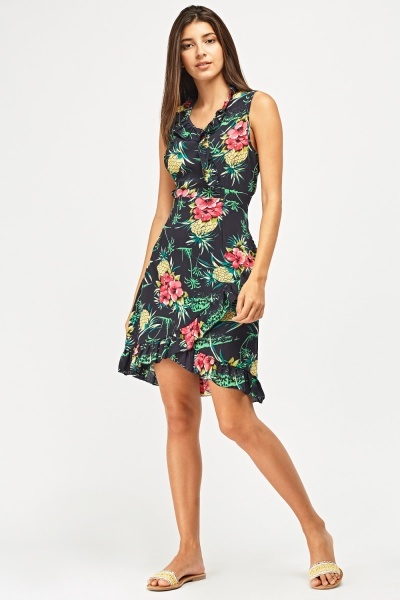 Tropical Print Frilly Wrap Dress
