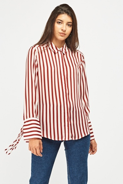 Vertical Stripe Sheer Shirt