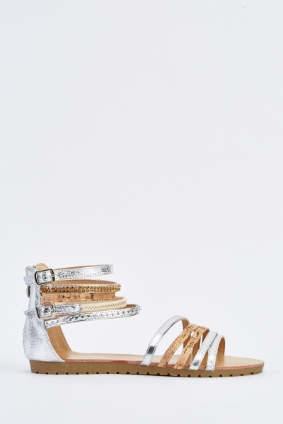 Chained Detailed Flat Sandals