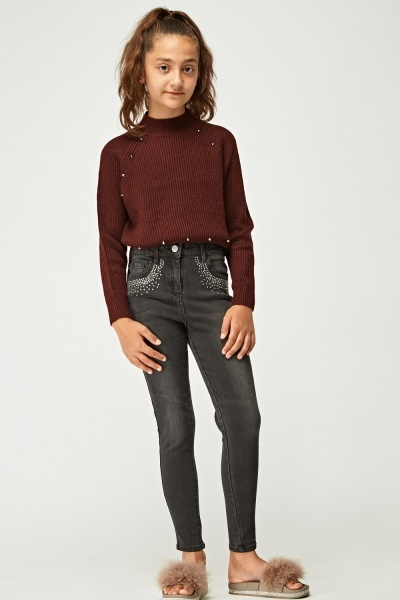 Encrusted Skinny Leg Denim Jeans