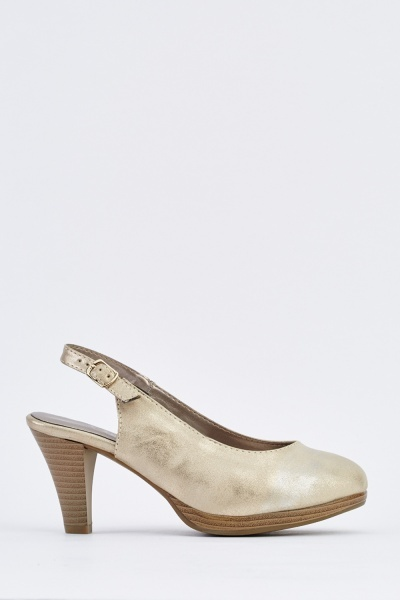 Metallic Sling Back Pump Heels