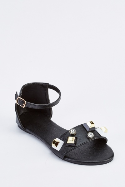 Studded Open Toe Flat Sandals