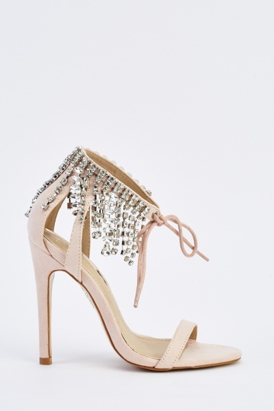 Suedette Embellished Ankle Sandals