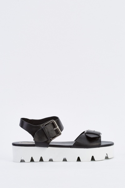 Twin Buckle Chunky Sandals