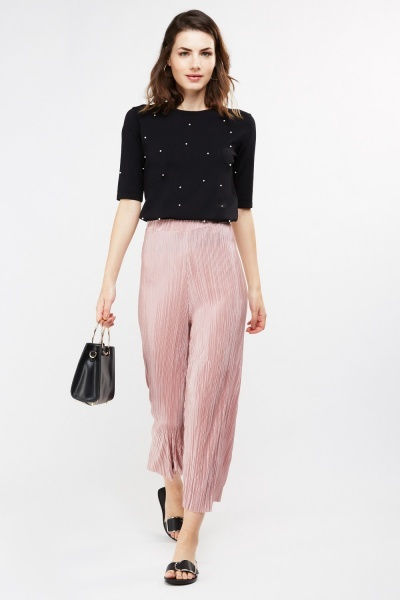 Ankle Length Plisse Trousers