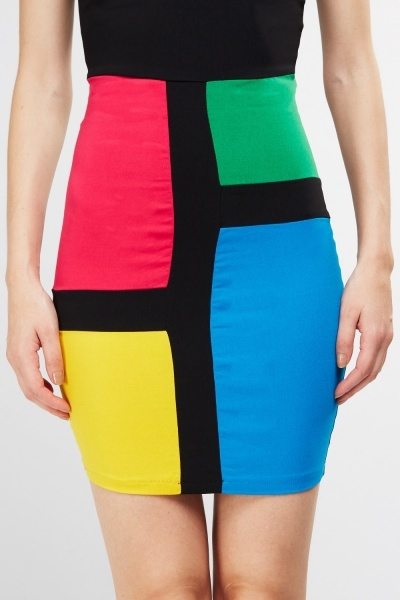 Colour Block Sweetheart Bodycon Dress