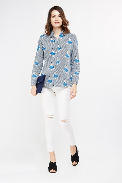 Contrast Stripe Printed Shirt