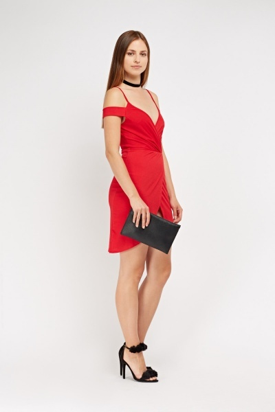 Cut Out Shoulder Wrap Dress