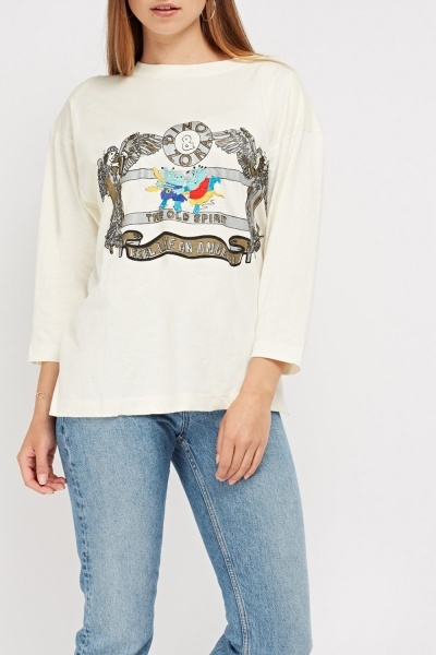 Embroidered Graphic Front Long Top