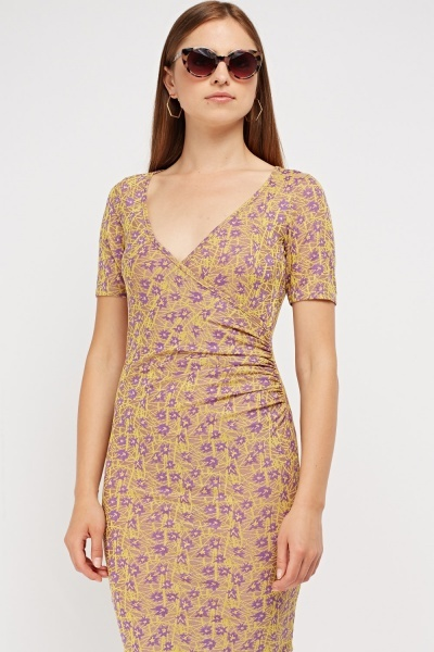 Embroidered Ruched Wrap Dress