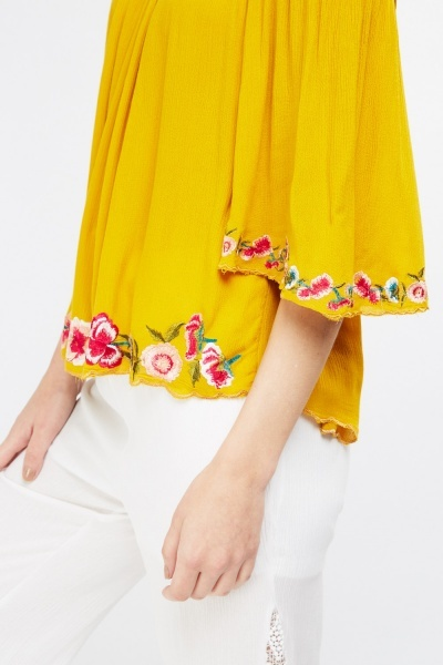 Embroidered Tie Up Shoulder Top