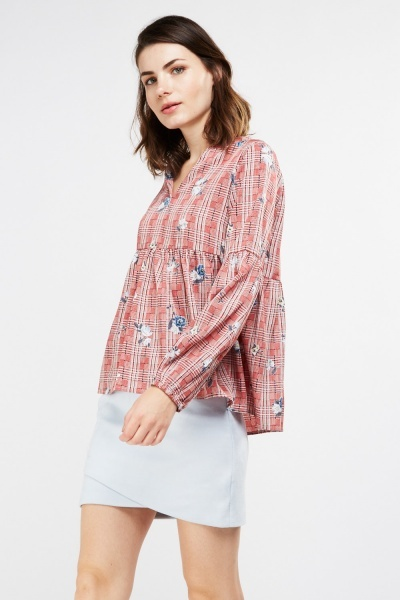Floral Plaid Print Smock Top