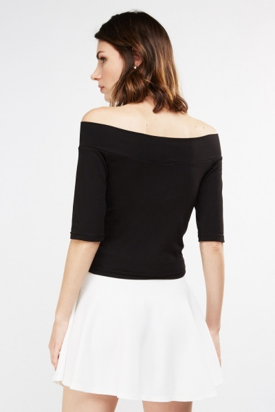 Off Shoulder Crop Bardot Top