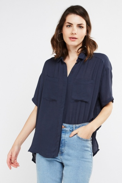 Sheer Chiffon Short Sleeve Shirt