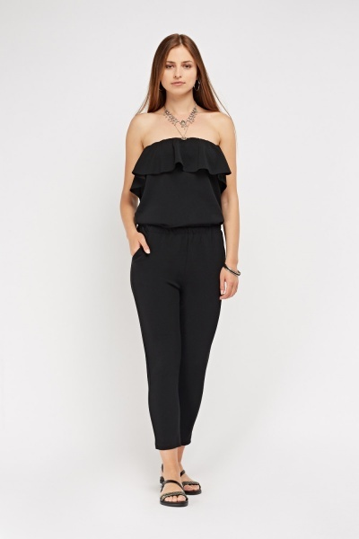 Strapless Ruffle Trim Jumpsuit