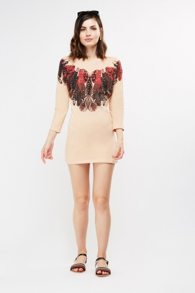 Studded Feather Print Dress
