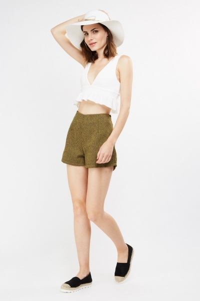 Wool Blend Tweed Shorts