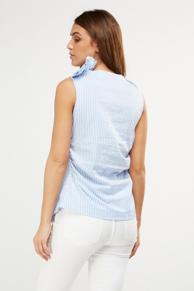 Asymmetric Ruched Side Striped Top