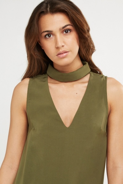 Olive Choker Neck Top