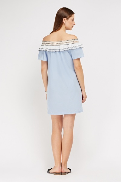 Pleated Frilly Off Shoulder Dress