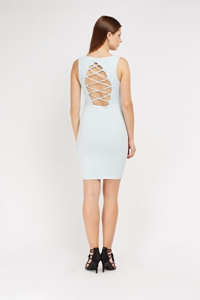 Ribbed Lace Up Back Dress