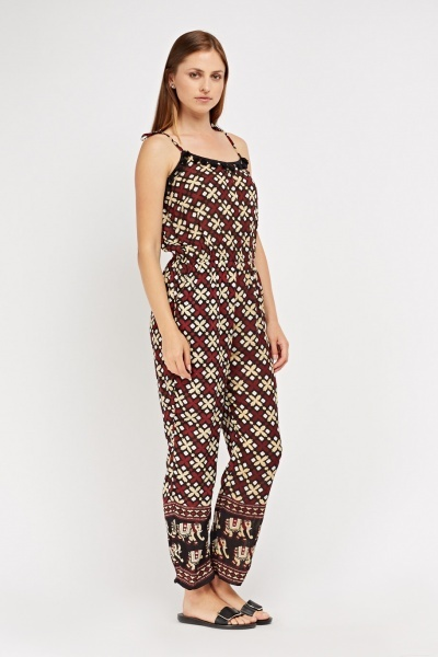 Sheer Printed Thin Jumpsuit