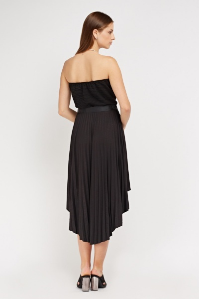 Strapless Sweetheart Sheer Pleated Dress