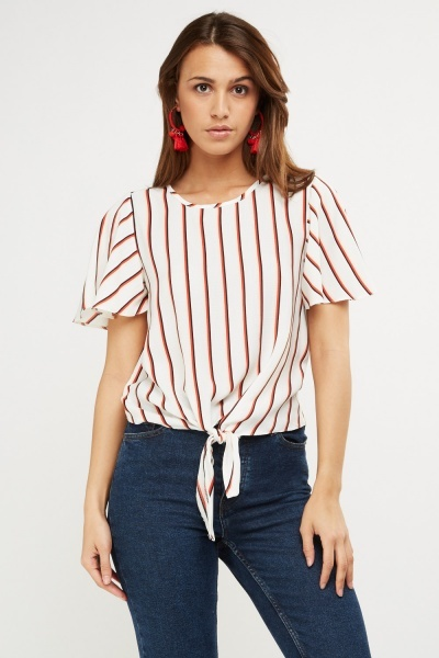 Striped Tie Up Knot Front Top