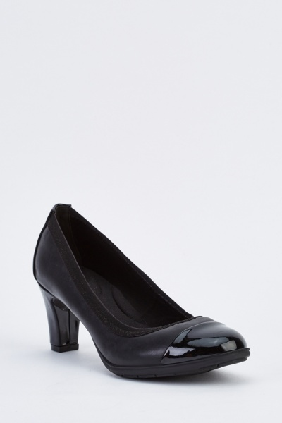 Contrasted Mid Heel Pumps