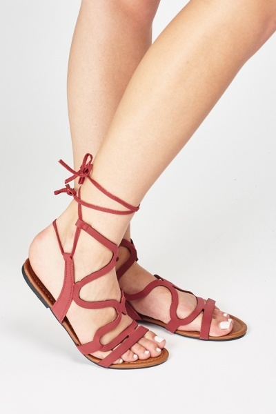Cut Out Tie Up Gladiator Sandals