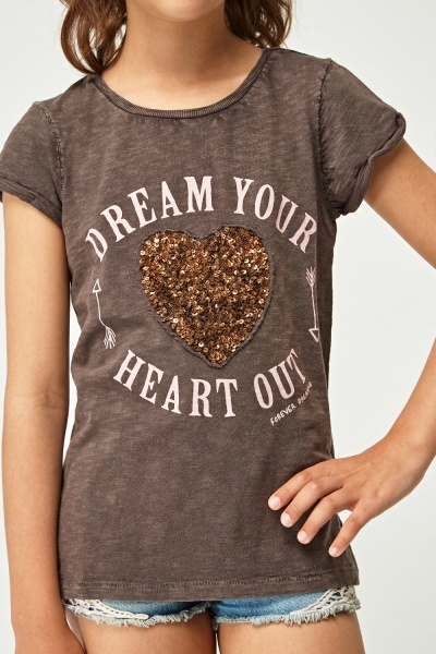 Embellished Slogan Front Top