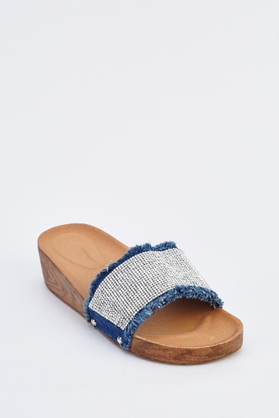 Encrusted Denim Wedge Sliders
