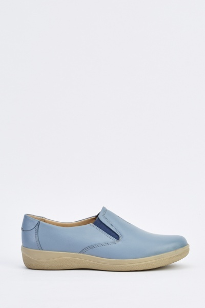 Faux Leather Comfy Slip On Shoes