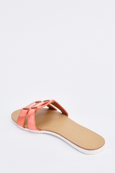 Holographic Flat Slide Sandals