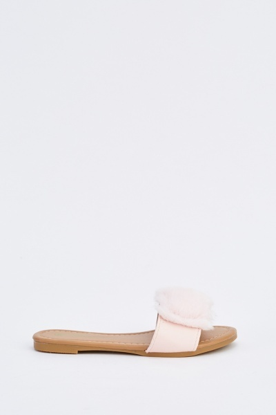 Kids Faux Fur Slide Sandals
