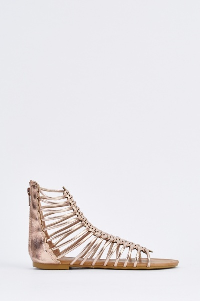 Metallic Flat Gladiator Sandals