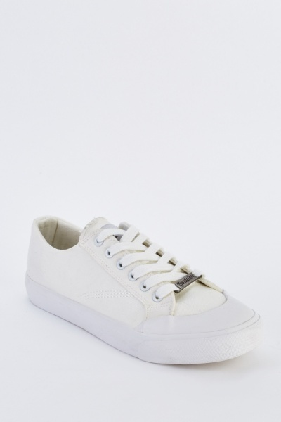 Textured Lace Up Mens Plimsolls