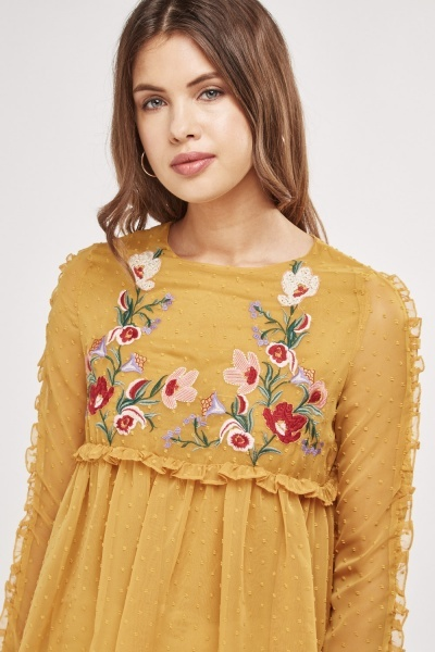 Embroidered Sheer Frilly Blouse